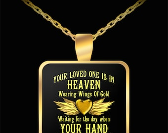 Widow Necklace - Husband in heaven necklace - Widow quote necklace - Wearing Wings Of Gold Necklace - gift ideas