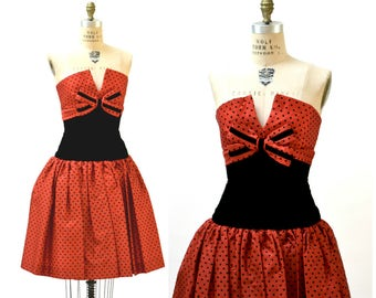 80s does 50s Vintage Red party Dress By Victor Costa// Strapless 80s  Party Prom Dress Red and Black Polka Dot Small Medium Crinoline Skirt