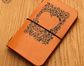 Leather Moleskine Cahier/Field Notes Notebook Cover (Flower Heart)