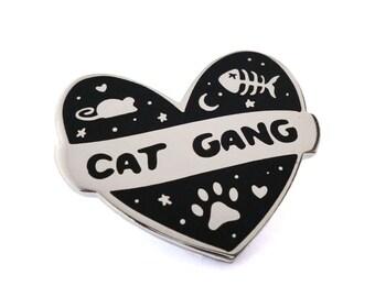 Cat Gang Hard Enamel Pin Badge - Kitty - Kitten - I Love My Pet - Feline Accessories