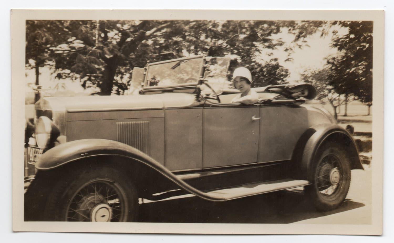 Vintage Photo Woman Drives Antique Car Auto Memorabilia