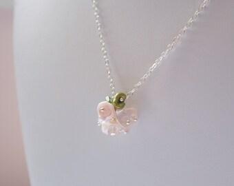 Blush Pink Flower Girl Necklace, Genuine Freshwater Pearl, Rose Quartz Gemstone, Keishi Blossom, Child Children, Sterling Silver Jewelry