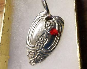 Spoon heart ,Heart charm pendant necklace handmade love upcycled flatware