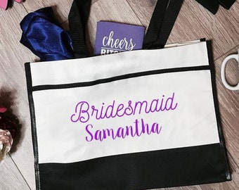 Bridesmaid Samantha Trim Tote Bag | Bridesmaid Tote Bag | Bridesmaid Totes | Bridesmaid Accessory | Bachelorette Party Totes | Bridal Gifts