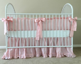 Pink Ruffle Crib Bedding in natural linen, Baby Girl Bedding - Ruffled Baby Bedding set with long sash ties