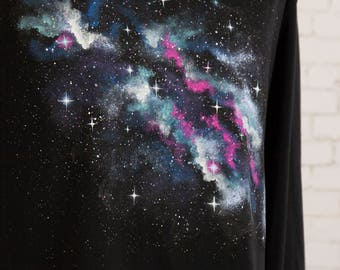 Space shirt universe nebula & stars tshirt galaxy clothing  galaxie t shirt hand painted nebula on black long sleeve night sky shirt Size XL