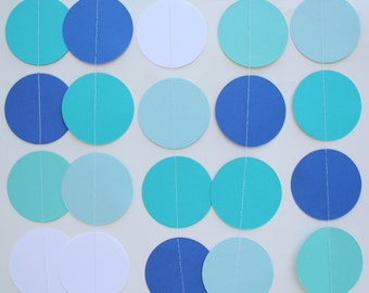 Birthday Party Decorations, Paper Garland . 5 Feet Long . aqua, teal, royal blue, white
