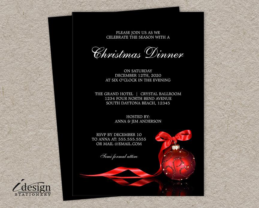 Elegant Christmas Dinner Party Invitations Printable Holiday