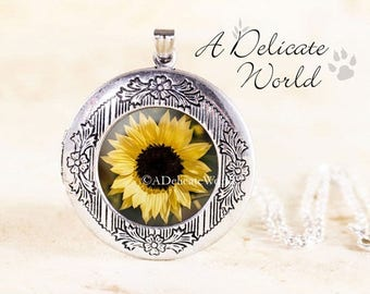 Sunflower Jewelry Locket, Gardening Gift for Sister or Mother, Sun Flower Necklace, Yellow Floral Pendant