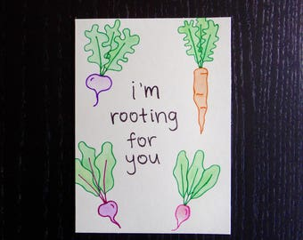 I'm Rooting For You Card w/ Envelope   Pun Card   Punny Card