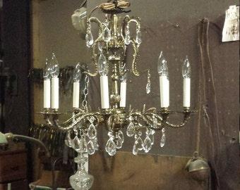 Spanish Brass Chandelier Restored Vintage, Vintage Brass Chandelier