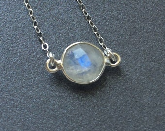 Moonstone Sterling Necklace, Layering Moonstone Delicate Chain Necklace Sterling Silver or Gold Filled, Stone Options