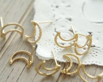 2 pairs Open Back Bezel Earrings / Moon (9mm10mm) AZ389