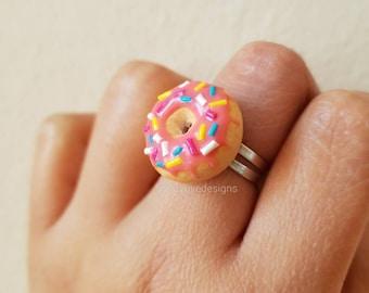 Strawberry Donut ring, Doughnut ring, polymer clay ring, kawaii ring, food ring, realistic donut ring, miniature donut, adjustable ring