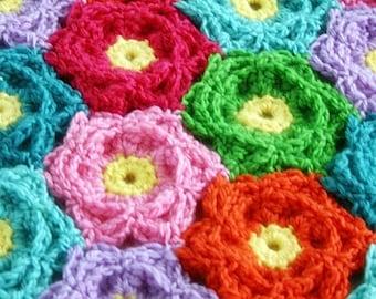 Blanket Crochet Pattern, Waikiki Wildflower Colorful