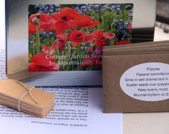 Cottage Garden Collection, Heirloom Flower Seeds, Poppy Seeds in Gift Box, Gardening Gift Set or Gift for Mothers Day