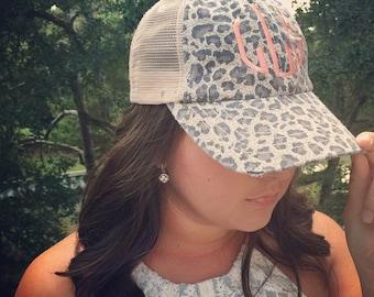Monogrammed Leopard Trucker Hat