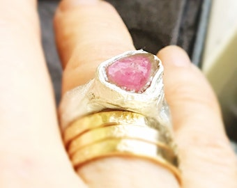 Gorgeous pink tourmaline big ring fine eco silver 6.5 boholuxe rosecut