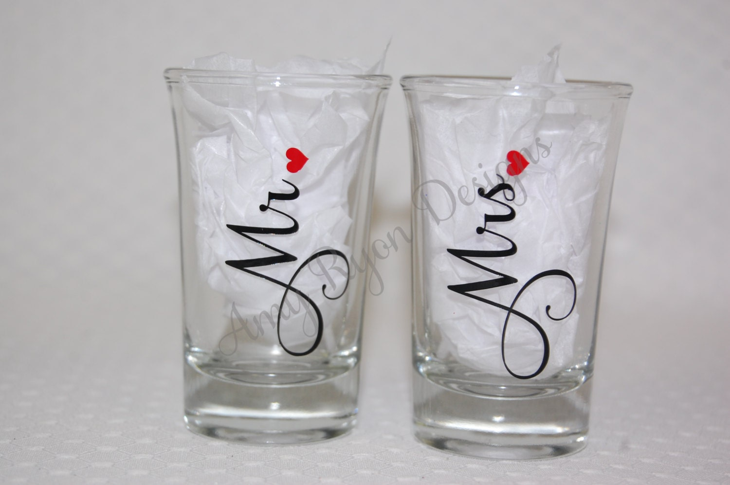 Mr. and Mrs. Shot Glasses Personalized Mr. and Mrs. Shot