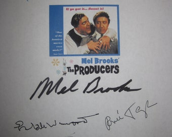 The Producers signed Film Movie Screenplay Script X7 Autograph Gene Wilder Mel Brooks Zero Mostel Estelle Winwood Barney Martin Renee Taylor