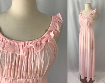 1970s Ruffle Off the Shoulder Nightgown | Vintage Nylon Lingerie | 1970s Clothing | Boho Ruffle Maxi | 1970s Vintage Clothing