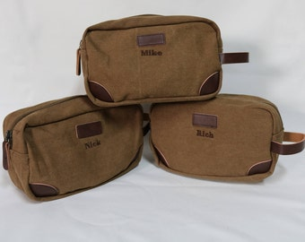 Groomsmen Toiletry Bag-Monogram included-Groomsmen Bags-Personalized Groomsmen Gifts- Canvas and Leather Dopp Kit-Olive, or Tan