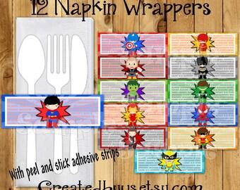 Superhero Napkin wraps Super hero Birthday Decorations Comic napkin bands Paper napkin ring holder utensil wraps Napkin wrappers 12 printed
