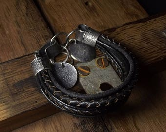 Leather bracelet Raw sterling silver Black Boho jewelry Oxidized Raw sterling silver