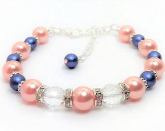 Blue and Coral Wedding Bracelet Swarovski Elements Crystal Bridal Jewellery Navy Blue Peach Bridal Bracelet Mother of the Bride Gift