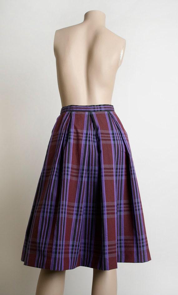 Vintage 1960s Skirt Plaid Plum Purple and Dark Burgundy Box