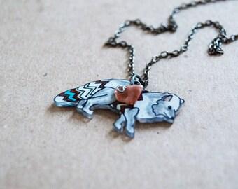 Arctic Fox Necklace / Chevron Animal / Chevron Necklace / Zig Zag / Arctic / White  / Shrink Plastic Jewelry
