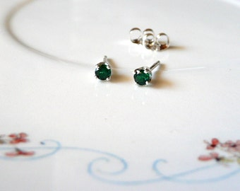 3mm emerald stud earrings, sterling silver earrings, simulated emerald gemstone earring studs, small gem earrings, May birthstone earrings