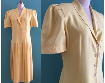 vintage 80's yellow drop waist shirt dress