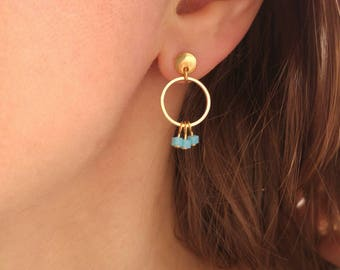 Earring posts with small beads and rings pendants