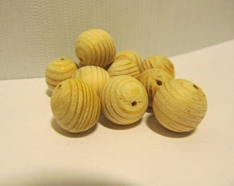 wooden pine beads 17-18 mm No polished - 10 pcs - eco friendly