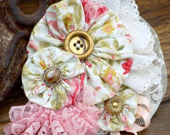 Handsewn Vintage Inspired Rose Flower and Lace Yo-Yo Pin with Vintage Buttons, Women's Handcrafted jewelry accessory