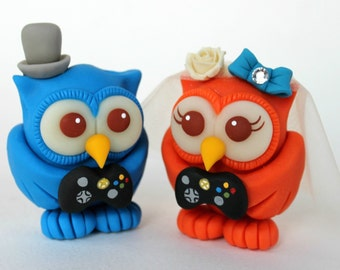Owl wedding cake topper with black game controllers, geek cake topper, blue and orange love birds