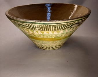Decorated hand made bowl