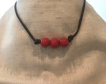 Brown Leather Choker with Red Bead