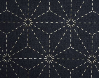Japanese sashiko fabric - 1/4 yard of dark blue Hemp Leaf