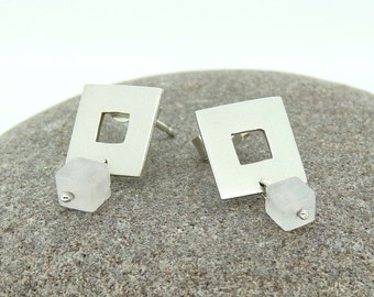 "Sterling Silver ""Squared"" Stud Earrings with Rose Quartz Cube Drops OOAK"