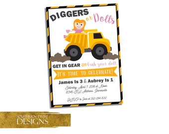 Dump Truck & Doll Birthday Invitation - Sibling Birthday Invite - Construction and Tea Party Invite - Diggers or Dolls - Boy and Girl