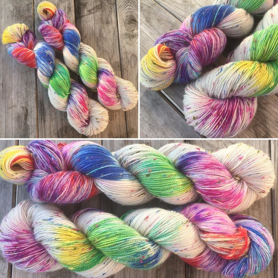 Industrial Accident, rainbow speckled Donegal sock yarn with multicolour neps