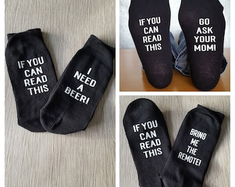 Personalised Socks, Mother's Day, Father's Day, Prosecco Gift, Gift for Her, Funny Socks, Teacher Gift, If you can read this, Gift for Him