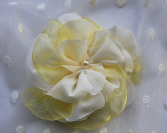 White Flower Hair Clip, Yellow Flower Hair Clip, Bridal Hair Flowers, Wedding Hair Flowers, Flower Hair Pieces, Fabric Flower Brooch