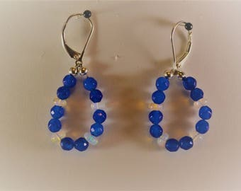 Sapphire Opal and Sterling Silver Earrings