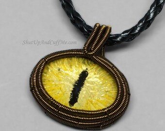 Yellow Dragon Eye Wrapped in Vintage Brass Wire Pendant Necklace, Dragon Eye Necklace