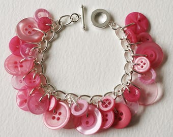 Button Bracelet Pastel Pink Shades