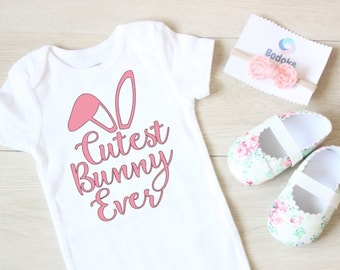 Cutest Bunny Ever Easter Bunny Bodysuit Personalized Easter Bodysuit Baby Boy Bunny Ears and Name Bodysuit First Easter Bodysuit