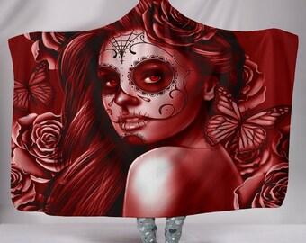 Calavera (Day Of The Dead / Dia De Los Muertos) Halloween Skull Design #2 Hooded Sherpa Blanket (Red Freedom Rose)